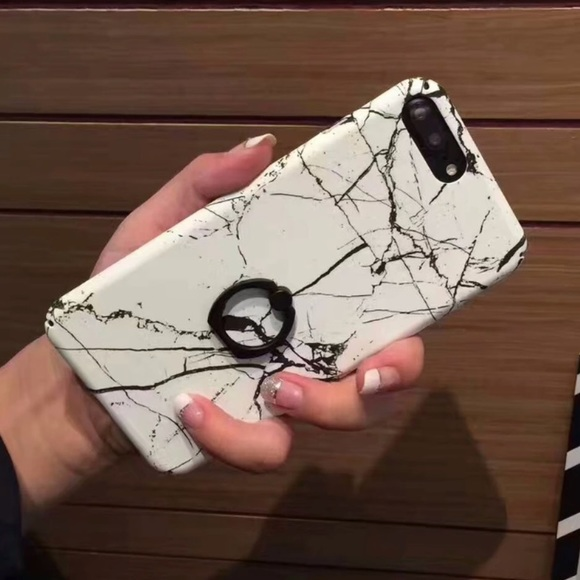 separation shoes b06ac 21a77 ✨ iPhone 8 PLUS Case White Marble Ring Holder Boutique